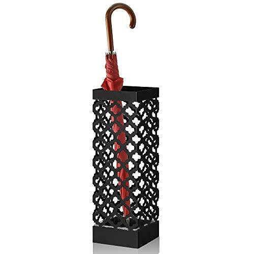 HAITRAL Schirmständer, freistehender Metallschirmhalter für Zuhause, Büro, Eingangsbereich, Dekoration mit Abtropfschale und 2 Haken, Schwarz