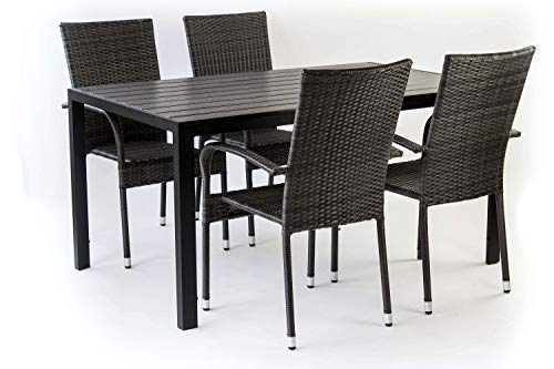 AVANTI TRENDSTORE - Piave - Set da Giardino Composto da 1 Tavolo Nero in Metallo e polywood, con 4 sedie impilabili in ecorattan di Colore Grigio Scuro. Tavolo Disponibile in 2 Diverse Misure. (Big)