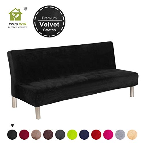 19V78 Luxury Velvet Armless Couch Cover Stretch Fabric Black Plush Sofa Cover No Armrest Sofa Slipcovers Couch Chair Cover Solid Color