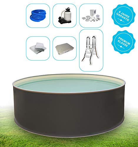 Paradies Pool® Premium Aufstellpool Komplettset - Gartenpool mit Stahlwand in rund inkl. Poolleiter Einbau Skimmer Sandfilteranlage & Zubehör mit 6 Jahre Garantie (500 x 120)