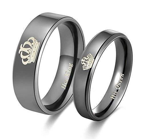 SataanReaper Presents His or Her or Her King - Juego de anillos de titanio para parejas de acero inoxidable para niñas y niños (2 piezas) #SR-995
