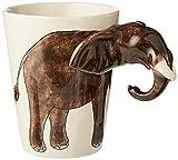 Taza con diseño de elefante con orejas y trompa 3D Taza de café, elefante de la suerte