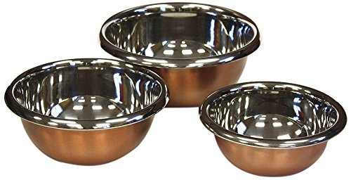 ZUCCOR 3 Piece Premium Stainless Steel with Copper Plated Exterior Mixing Bowl Set | Convenient Storage for Meal prep, Salad, Cooking, Baking, Serving – 9.63″ x 3.75″