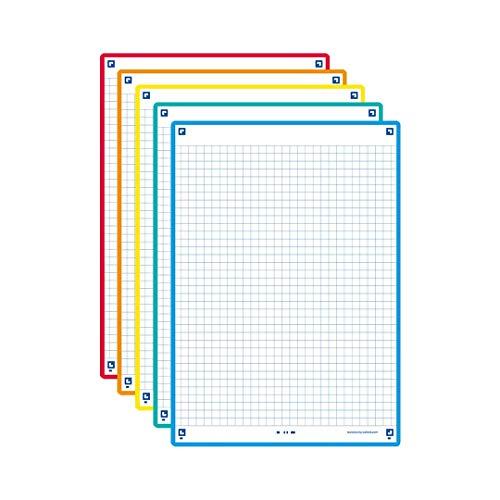 Oxford Fichas de revisión A5 2.0 Paquete de 50 unidades, 5 colores de recuadro, Cuadrícula 5x5, 400137404