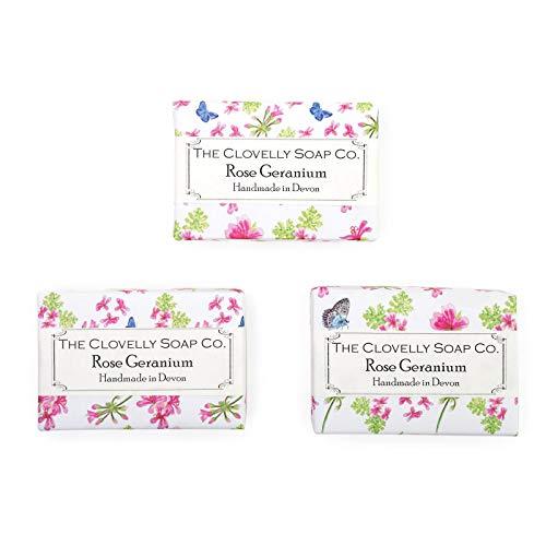 Clovelly Soap Co. Savon Naturel Fait Main - Géranium Rosat - Tous Types de Peau – 3x 100 g