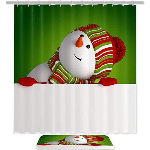 Juego de 2 cortinas de ducha con aspecto de muñeco de nieve de 70 pulgadas y juego de alfombras, tela impermeable para baño y juego de alfombras con ganchos