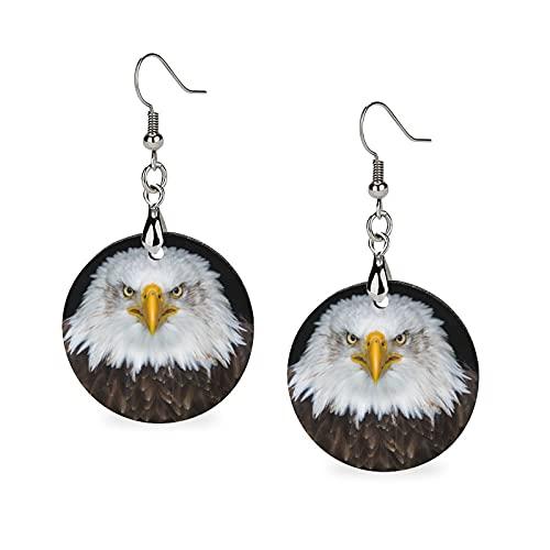 Pendientes de madera, redondos, pendientes colgantes con personalidad para niñas, águila calva y...