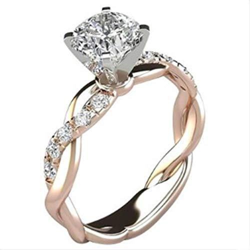YXDS Anillo de Diamantes con Forma torcida de Plata de Ley 925, Anillo de Bodas, Anillos de Compromiso de joyería de Plata y Oro Rosa de Dos Tonos para Mujeres