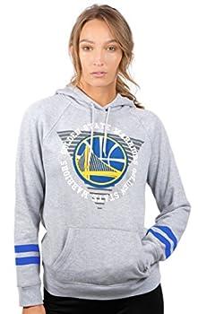 Ultra Game NBA Golden State Warriors Womens Soft Fleece Pullover Hoodie Sweatshirt With Varsity Stripe Heather Gray X-Large