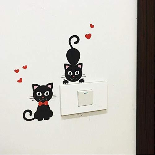 TTBH Lindo DIY Gato Negro Dibujos Animados Interruptor Pegatina Desmontable PVC Pared Pegatina Vinilo Creativo decoración del hogar calcomanía Pasta de Enchufe Nuevo