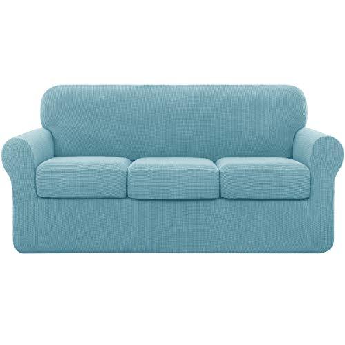 Subrtex - Funda de sofá extensible con 3 fundas de cojín, funda de sofá con reposabrazos elástico (3 plazas), color azul claro