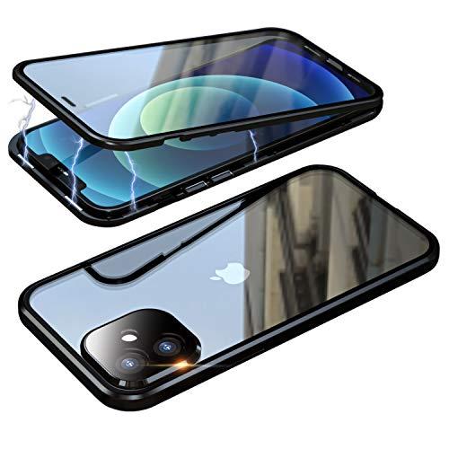 Schutzhülle für iPhone 12 Mini 5G, magnetisch, Schutzhülle aus gehärtetem Glas, transparent und Metall, stoßfest, 360 Grad für iPhone 12 Mini, Schwarz