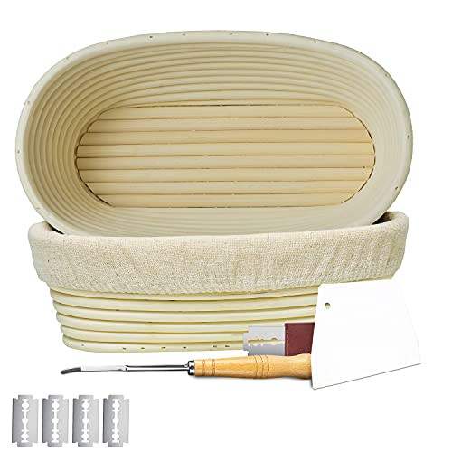 LePaaz Oval Banneton Bread Proofing Basket Natural Rattan 10 Inch (Pack of 2) - Includes Linen Liner, Dough Scrapper, Blades And Bread Lame For Home & Professional Sourdough Baking