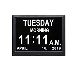 Remote Control 9 Inch Digital Day Clock Non-Abbreviations Day and Date Dementia Vision Impaired Calendar Clocks Perfect for Seniors Elderly