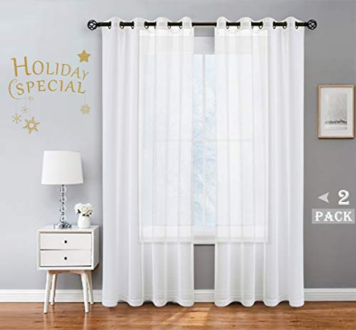 Snow White Linen Sheer Curtain Panel Pairs with Grommets/Eyelets Rustic Window Drape Treament Decoration for Living Room Bedroom Farmhouse, 54x84 Inch, 2 Panels