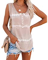 LAMISSCHE Womens Tie Dye Tank Tops Summer Sleeveless Henley Shirts Button Up Scoop Neck Casual Workout Camis(Khaki,2XL)