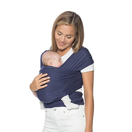Ergobaby Babytragetuch für Neugeborene ab Geburt bis 11kg, Indigo Baby Tragetuch Elastisch Atmungsaktiv, Sling aus 100% Viskose