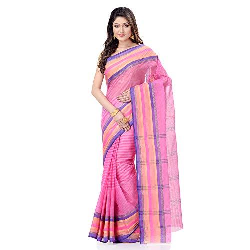 dB DESH BIDESH Women`s Bengal Handloom Pure Cotton Saree Khejur Chori Design Without Blouse Piece