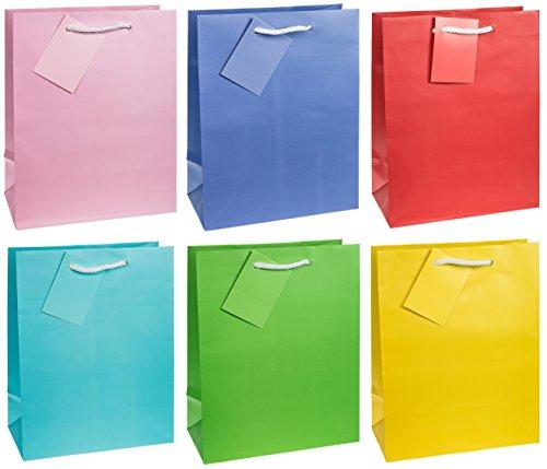 TSI 86011 Geschenkbeutel Trendfarben, 12er Packung, Größe: Mittel (23 x 18 x 10 cm)