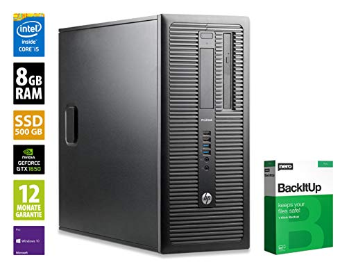 HP ProDesk 600 G1 MT | Gaming PC | Intel Core i5-4570 @ 3,2 GHz | 8GB RAM | 500GB SSD | DVD-Brenner | Nvidia GTX 1650 | Windows 10 Pro (Zertifiziert und Generalüberholt)