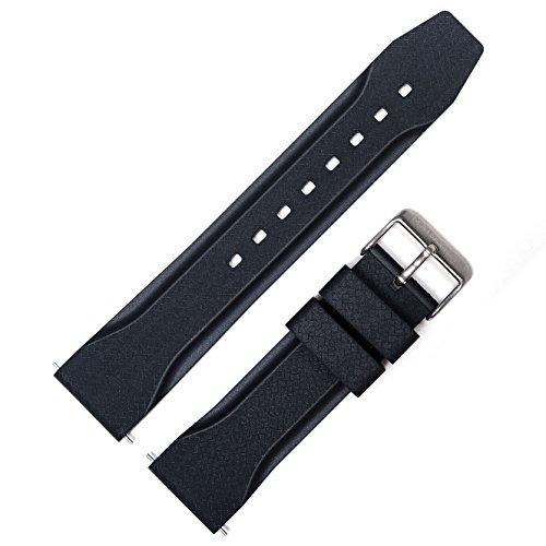 Marathon 22mm Vulcanized Rubber Textured Watch Band/Strap - Made in Italy - WW005015 (Black)