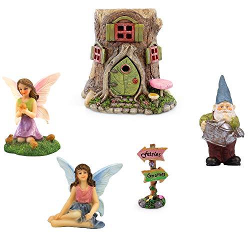 NW Wholesaler Fairy Garden - Kit de iniciación con casa del árbol, hadas, gnomos y suministros de jardín de hadas