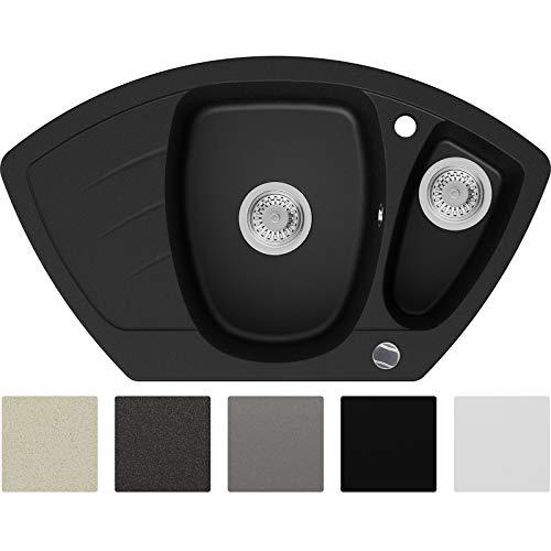 Granitspüle Schwarz 83,5 x 49,5 cm, Spülbecken + Siphon Automatisch, Eckspüle ab 60er Unterschrank in 5 Farben mit Siphon und Antibakterielle Varianten, Küchenspüle von Primagran