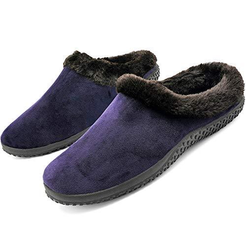 Pantuflas de Invierno Hombre Mujer Zapatillas de Estar Cerradas Calienta Pantuflas Zapatos de Pareja para Interior y Exterior Unisex Talla
