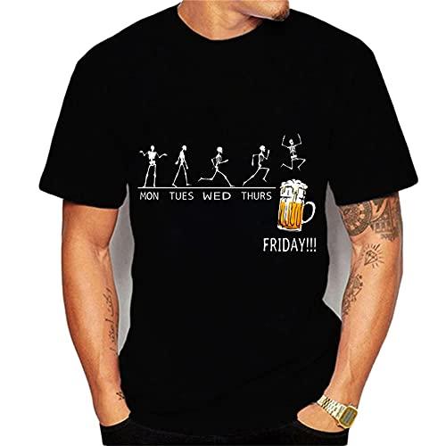 Shirt Ocio Hombre Verano Cuello Redondo Manga Corta Hombre Shirt Gran Tamaño Transpirable Moda Creativa Impresión Hombre T-Shirt Tendencia Personalidad Hombre Ropa De Calle T25282 M
