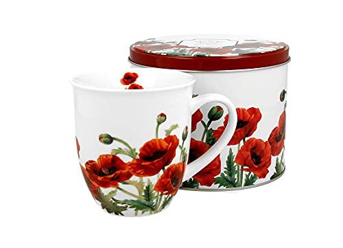 DUO Kaffeetasse Teetasse Classic Mohn 400ml in Metallbox Cappuccinotasse Kaffee-Tasse Cappuccino-Tasse Porzellan Porzellantasse Kaffeebecher Kaffee-Becher Tee-Becher Porzellan-Tasse Blumenmuster