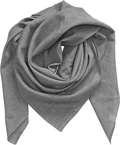 Harrys-Collection Damen Herren Baumwolltuch in vielen Farben 100 x 100 cm, Größen:Einheitsgröße, Farben:grau meliert