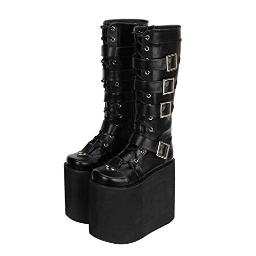XWHKX Lolita (Lolita) Boots Heeled Shoe lace Side Zipper Female