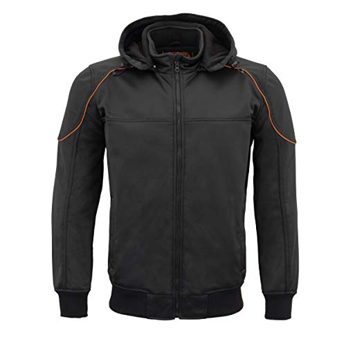 Milwaukee Leather MPM1764 Men's Black Soft Shell Armored Racing Style Jacket with Detachable Hood - 2X-Large