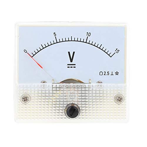 Hemobllo Indicateur de panneau analogique à tête de pointeur de voltmètre CC 15V