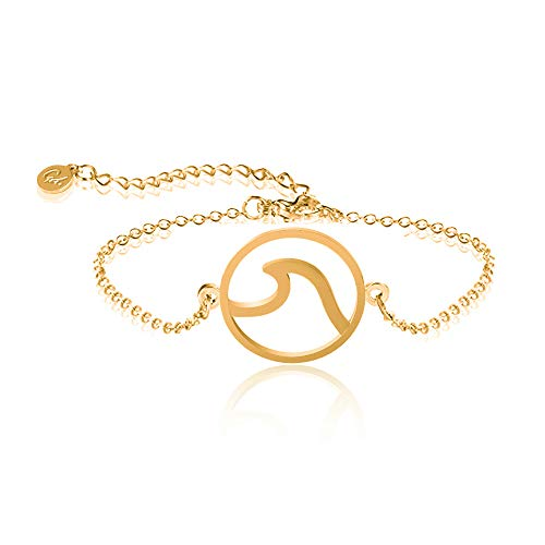 GD GOOD.designs EST. 2015 ® Wave Damen Armkette (verstellbar) Armkettchen mit rundem Wellen- Symbol (Golden)