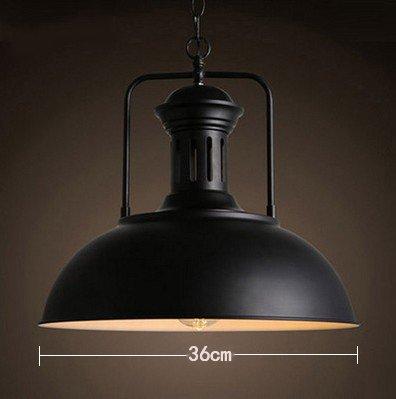 Luckyfree hanglamp kamer bar café restaurant keuken hal lampen plafondlamp kroonluchter retro industriële creatieve single Iron wok deksel, buiten zwart wit 36 cm