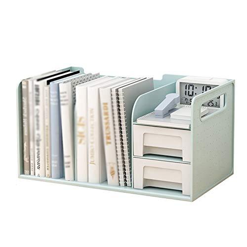 Estante para libros PP Desktop Bookshelf Rack de almacenamiento con 2 cajones Display Organizer Office Storage Rack Engrasamiento de dos capas puede acomodar múltiples libros Estantería de decoración