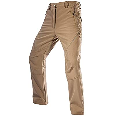 FREE SOLDIER Men's Fleece Lined Outdoor Cargo Hiking Pants Water Repellent Softshell Snow Ski Pants with Zipper Pockets (Mud, 34W x 30L)