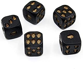 OnefunTech Set of 5 Pcs Halloween Skull Dice of Death Grinning 3D Skeleton Bones Scary Resin Dice Novelty Board Game for Club Pub Party Devil Game
