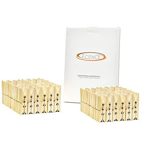 ECENCE Pinzas de bambú para la Ropa, 120 Unidades, 60 x 12.5 x 11mm, Pinzas para Manualidades, Pinzas sostenibles de Madera, muelles extrafuertes 14020107