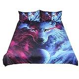 Bettbezug & Kissenbezug 3D Tier Tiger Löwe Wolf Elch Design Pattern Leichte Mikrofaser Bettwäsche Set Einzelgröße Doppelte King Size (Lila & Blauer Wolf, Einzelgröße 135x200cm)