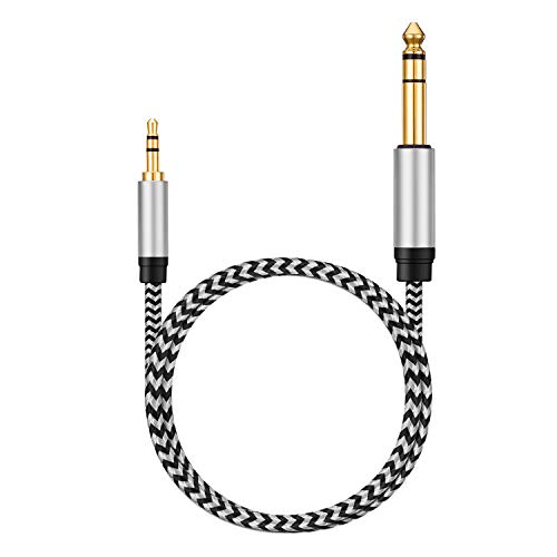 "Morelecs 6.35mm 1/4"" Male to 3.5mm 1/8"" Male TRS Stereo Audio Cable 20ft 3.5mm to 6.35mm Audio Cable Compatible for Guitar, Piano, Amplifiers, Home Theater Devices, or Mixing Console"