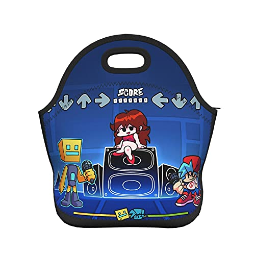 Geometry Dash Lunch Bags Reusable Picnic Fashion Tote Bag for Women Men Children Travel School Work