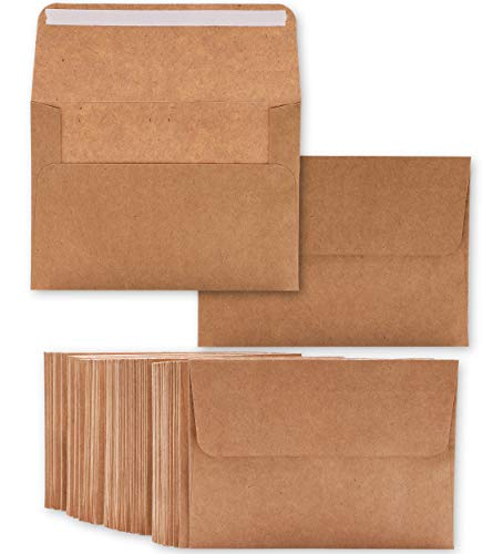 Best Paper Greeting A4 Invitation Envelopes - 50 Pack - Square Flap Kraft 4 1/4 x 6 1/4 inches