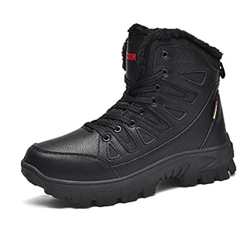 Botas de tobillo de motocicleta para hombre, para invierno, cálidas y antideslizantes, con cordones, para combate, casual, patrulla táctica,
