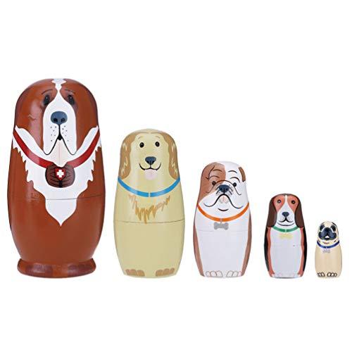 Tomaibaby 5 muñecas de madera rusas hechas a mano para niños y niñas, juguete para vacaciones
