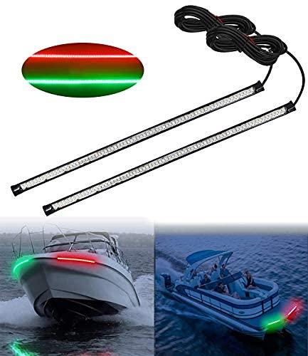 llevó los kits de luz de navegación del arco del barco, 13 'rojo y verde de la tira de luz marina Accesorios para el barco del pontón..