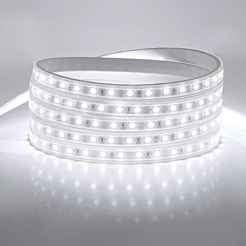 YAOBLUESEA LED Streifen 230V LED Lichtband Licht Schlauch Streifen Warm Wasserdicht Schmuck Schlauch Kaltweiß 6000k 5050 SMD IP65 für Hausbeleuchtung Dekoration Bar 2M