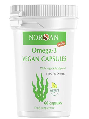 NORSAN Premium Omega 3 Vegan Kapseln hochdosiert - 1.400 mg Omega-3 pro Tagesdosis - Über 2000 Ärzten empfehlen NORSAN Omega-3 - 100{7791c97484153dbf20081338cab0029e7bf09c37663b6702ad85b0a9e2a55255} veganes Algenöl, kein fischiges Aufstoßen