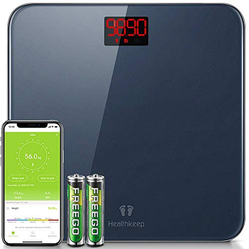 Digital Bathroom BMI Scale Smart Wireless Weighing Scales for Body Weight High Precision Step-On 396 lbs Analyzer Measure with Easy Reading LED Display Compatible iOS and Android Smartphone App